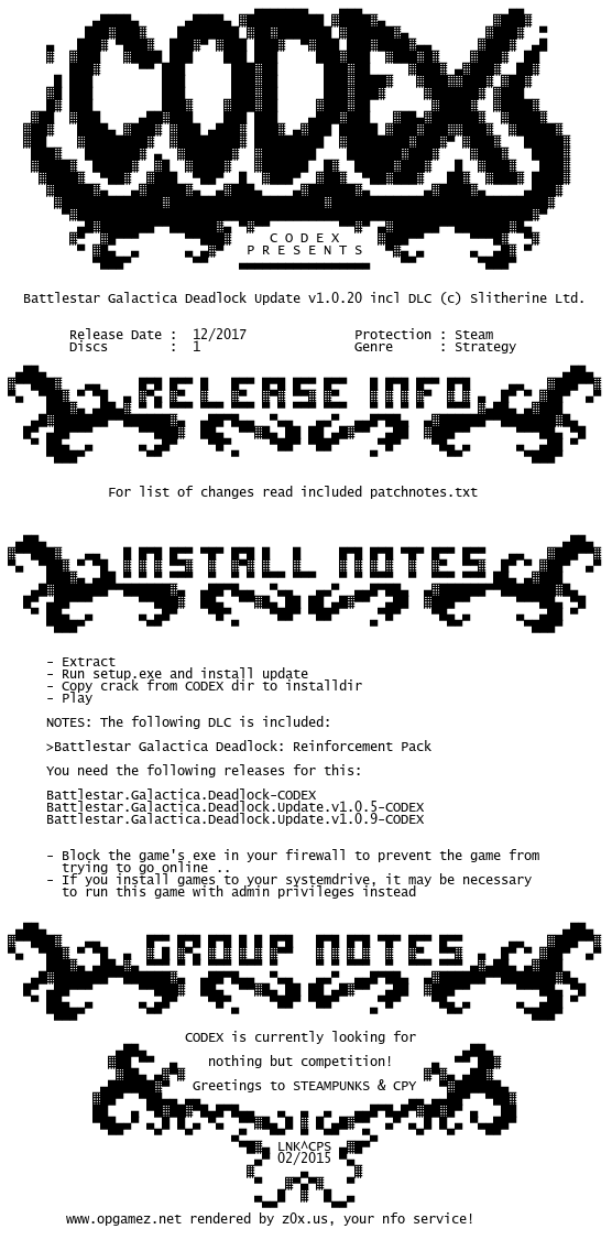 Battlestar.Galactica.Deadlock.Update.v1.0.20.incl.DLC-CODEX codex.nfo