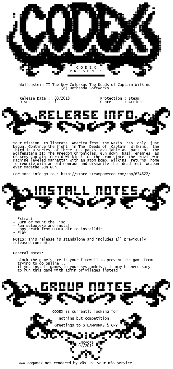 Wolfenstein.II.The.New.Colossus.The.Deeds.of.Captain.Wilkins-CODEX codex.nfo