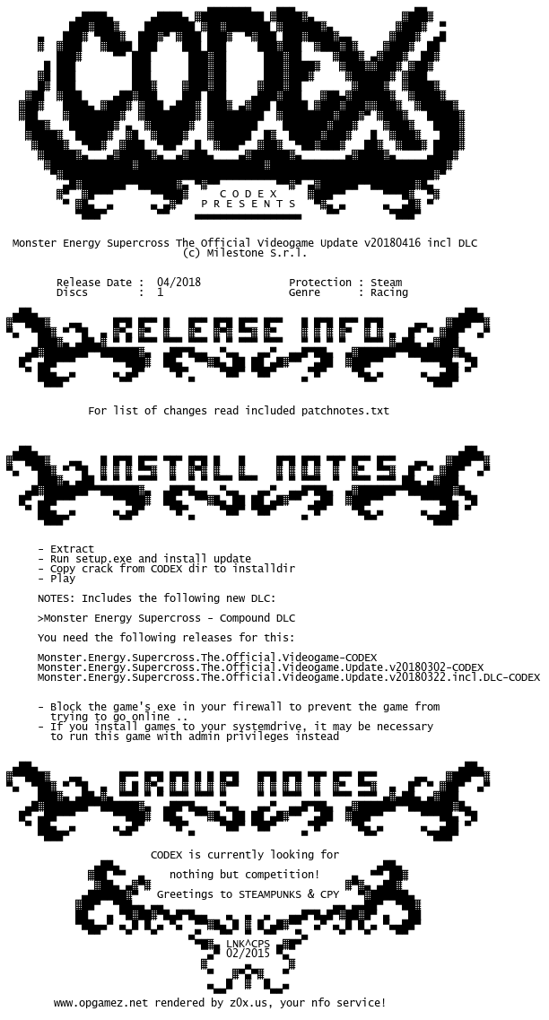 Monster.Energy.Supercross.The.Official.Videogame.Update.v20180416.incl.DLC-CODEX codex.nfo